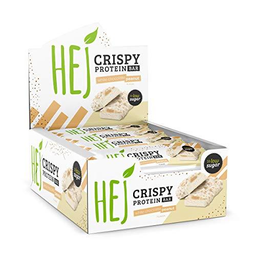 HEJ Crispy Protein Bar | White Chocolate Peanut - 12 x 45 g | Schokoladiger Protein Riegel | Eiweißriegel | Wenig Zucker | High Protein