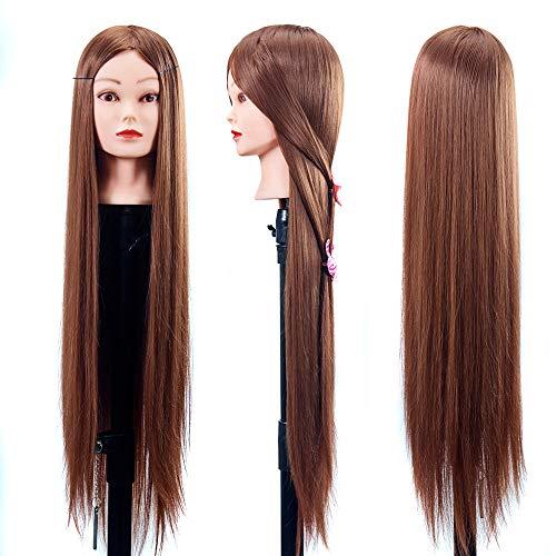"""Haar Ausbildung Mannequin-Kopf 30"""" 100% Echthaar Friseur-Ausbildung Hauptpuppe Kopf Hair Styling Modell,Makeupface,withoutbracket"""