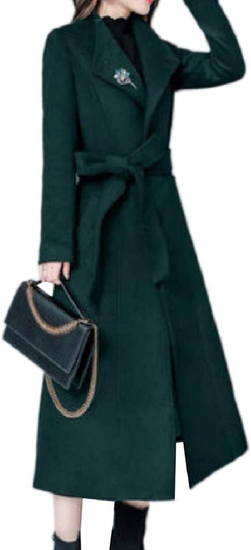 Tryist Womens Woolen Belt Standp Collar Trench Coat Fashion Overcoat Jacket