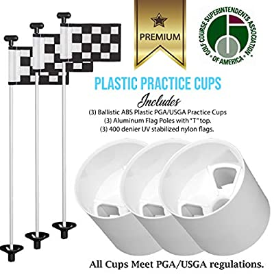 Golf City Products Outdoor Premium Practice Putting Green Set - 3 Practice Golf Flag Sticks + 3 Golf Pin Flags + 3 ABS Plastic Golf Cups