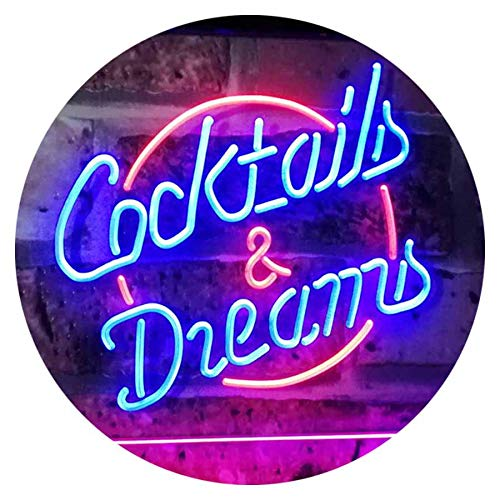 ADV PRO Cocktails & Dreams Bar Beer Wine Drink Pub Club Dual Color LED Enseigne Lumineuse Neon Sign Rouge et Bleu 400 x 300mm st6s43-i2079-rb