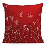 WONDERTIFY Throw Pillow Case Cover Abstract Flower Background with Butterfly Red - Soft Linen Pillow Case for Decorative Bedroom/Livingroom/Sofa/Farm House - Couch Pillow Cushion Covers 18x18 Inch