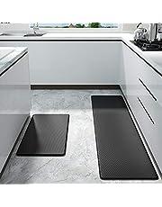 Color&Geometry Alfombrilla de Cocina de 2 Piezas, Alfombra Antifatiga, PVC Impermeable y Resistente al Aceite, Respaldo de Cuero Antideslizante (45 x 75 cm + 45 x 150 cm, Negro)
