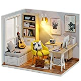 piberagi DIY Miniature Dollhouse Kit, 1:32 Scale Creative Room Mini Wooden Doll House with Furniture Plus Dust Proof for Kids Teens Adults