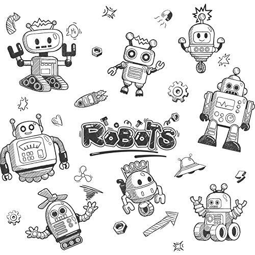 Kinderzimmer Umweltschutz PVC Roboter Aufkleber Wandaufkleber Schranktüren Haushaltsgeräte dekorative Cartoon Aufkleber-Roboter world_Extra groß