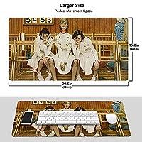 おしゃれ ノーマンロックウェル アートコレクション1 ゲーミングマウス パッド 耐久性 滑り止め 超大型 キーボード パッド 正確でスムーズな操作経験 防水 コンピューターデスクマット 男女兼用
