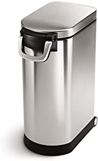 simplehuman 35 Liter, 40 lb / 18.1 kg X-Large Pet Food Storage Can, Brushed Stainless Steel