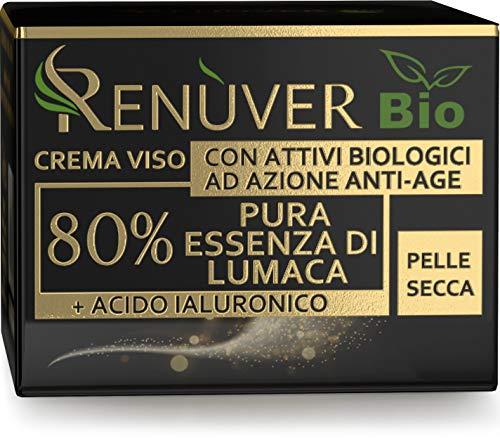 Crema Bava di Lumaca Viso BIO, Certificata, MADE IN ITALY, con 80% Bava di Lumaca PURA al 100%. Azione Antirughe, Nutriente, Idratante con Aggiunta di Acido Ialuronico, Collagene, Vit. E (50ml)