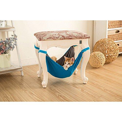 Cama de hamaca para gatos - Suave y cómoda hamaca para mascotas con silla para gatito, hurón, perrito o mascota (Azul)