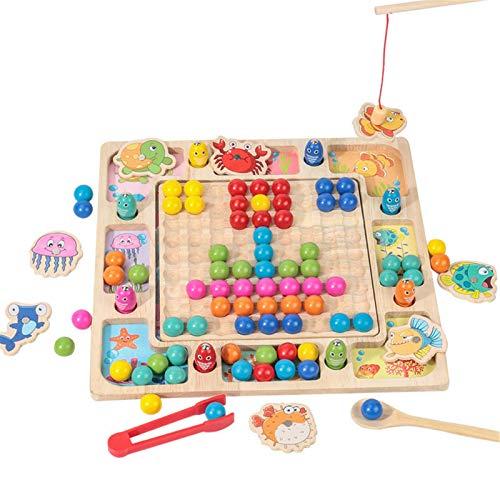 Lood Juego de mesa, 3 en 1, puzle Montessori, juguete para niños y niñas, colores variados, juguete educativo para pesca, clasificar