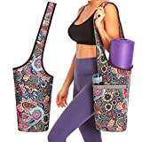 Zugeet Yoga Mat Bag, Yoga Bags and Carriers for Women Yoga Bags with Pockets Large Yoga Bag for Mat Yoga Tote Fits All Your Stuff Red Flower