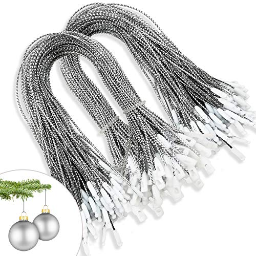 kockuu 200pcs Silver Christmas Ornaments Hanger String Precut Hanging Ropes for Christmas Tree Ornament Decorations with Snap Fastener
