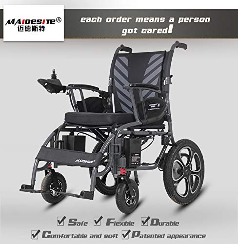 Find Bargain DSVBNM Electric Wheelchair Folding Motorized Power Wheelchairs, Fold Foldable Power Com...