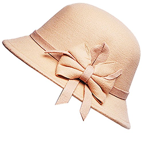 Belsen Belsen Damen wollen Bogen Temperament Schlapphut Mütze Fischer Hut (beige)