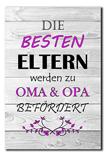 Hochwertiges Metallschild 30 x 20 cm aus Alu Verbund Die besten Eltern werden zu Oma & Opa befördert Deko Schild Wandschild