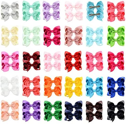 58Pcs Baby Girls Toddler Hair Bows with Alligator Clip Grosgrain Barrettes Bundles Accessories product image