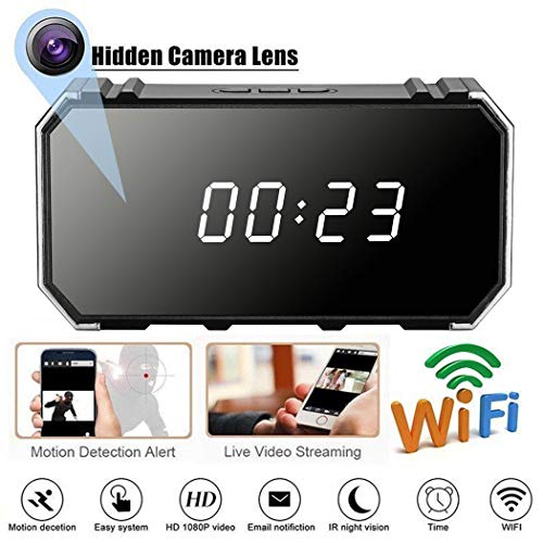 ETbotu Reloj Despertador con cámara 4K 1080P WiFi HD con Espejo inalámbrico de Seguridad con visión Nocturna