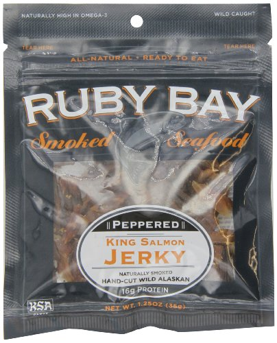 Ruby Bay Wild Salmon Jerky, Pepper, 1.25 Ounce