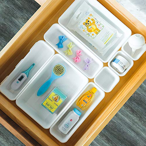 madesmart Baby 8-Piece Interlocking Bin Pack - White | BABY COLLECTION | Customizable Multi-Purpose Storage | Organizer for Baby Care Products, Spoons or Wipes | BPA-Free
