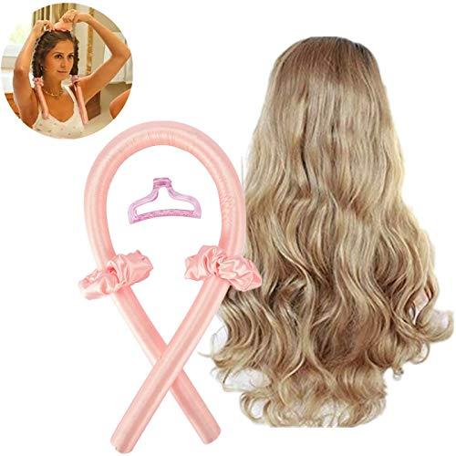 Heatless Curling Rod Headband,No Heat Curls Silk Ribbon Hair Rollers,Sleeping Soft Headband Wave Formers Hair Curlers,Night Waves Heatless Headband for Long Medium Hair (Pink)