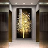 Cuadro en lienzo nórdico abstracto para sala de estar, cuadros artísticos dorados para pared, impresión, dormitorio, comedor, decoración del hogar, póster, arte 35x70 CM (sin marco)