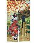 LIGICKY Cortina japonesa Noren para puerta de Kyoto Geisha niñas y hojas de arce japonés impresas tipo largo tapices para decoración del hogar 85 x 149 cm