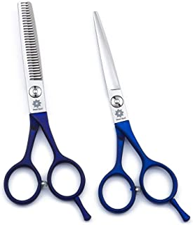 5.5 inch Barber Shears Kit Professional - Hair Cutting Scissors and Texturizing/Thinning Shears Hairdressing Scissors Set Straight Edge Hair Scissors Tools for Hairdresser or Hairstylist