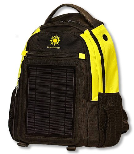 SolarGoPack solar powered backpack, charge mobile devices, Take Your Power with You, 10k mAh L-Polymer Battery - Yellow