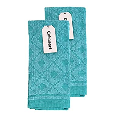 Cuisinart Kitchen, Hand and Dish Towels - Premium 100% Cotton Terry, Teal – Soft, Absorbent, Quick Drying and Machine Washable Tea Towels – Sweater, Set of 2, 16 x 26 Inches