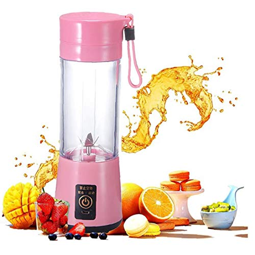 Mini Portable 400ml Fruit Mixing Machine with USB Charger Cable 4 Blades for Superb Mixing Detachable Cup (Pink) for Home and Outdoor