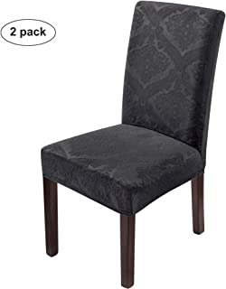 Delight Dining Room Chair Covers,Velvet Stretch Chair Protector,Non-slip Removable Washable(2PCS-Charcoal Grey)