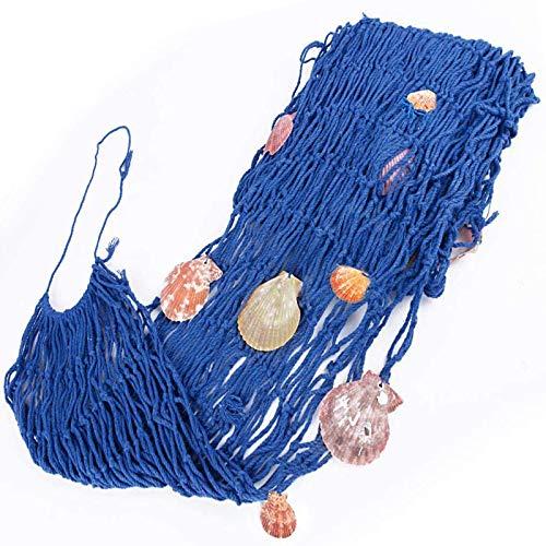 Decoración de red de pesca, Mediterránea del Estilo Decorativa Red de Pesca, Pesca Náutica Decorativa con Conchas, Para Decoración de Restaurantes, Decoración del Hogar, Barra Temática (1 * 2m Azul)