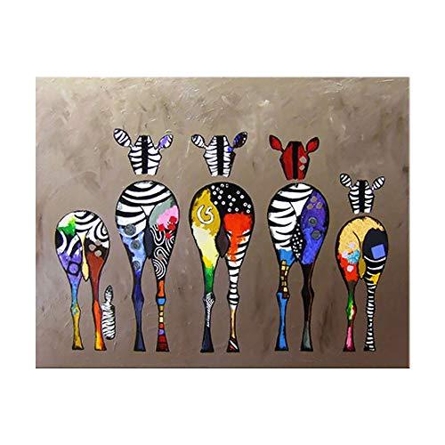 Asien Impresión de la Lona Pintura al óleo Pintura Colorida Cebra 40x60cm Inicio decoración de la Pared sin Marco Decorativo de la Lona