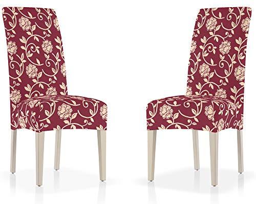 Set van 2 eetkamerstoelen van aanpasbare stof met bloemenpatroon of eenkleurig design (grote keuze aan kleuren), stoelhoezen met rugleuning en afzonderlijke stoelhoezen. Rückenlehne 05, rood.