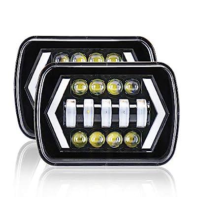 "TOHUU 5x6"" LED Headlights, 55W 6x7"" Square LED Headlamp with Arrow Angel Eyes DRL Turn Signal Light For Ford GMC Jeep Cherokee XJ YJ"