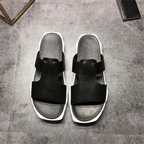 LBYSK Flip Flops los Zapatos de los Hombres de Cuero de Vaca baño Sandalias Zapatillas Superior Antideslizante y Transpirable Casual Male Ocio Manera Suave Fondo Impermeable y Durable,B,40