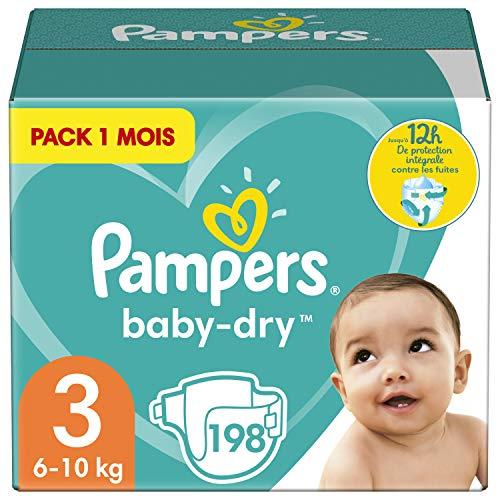 Pampers Couches Baby-Dry Taille 3 (6-10kg) Jusqu'à 12h Bien Au Sec et avec Double-Barrière Anti-Fuites, 198 Couches (Pack 1 Mois)