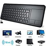 Teclado Táctil Inalámbrico, WisFox Teclado Inalámbrico Ultra Delgado de 2.4G con Trackpad Multitoque de Gran TamañoIncorporado para Smart TV HTPC Tableta PC Computadora Portátil Google Windows Android