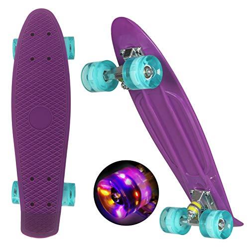 WeSkate Mini Cruiser - Monopatín Completo Retro de 55 cm, Tabla de Skate Vintage con Borde de plástico Cruiser Tabla con PU Rueda Flash Rodamiento ABEC-7 para Adultos niños y niñas