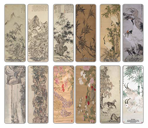 Creanoso China Chinese Classic Arts Paintings Bookmarks (12-Pack) – Premium Gift Set – Awesome Bookmarks for Adult Men & Women, Teens, Boys, Girls – Six Bulk Assorted Bookmarks Designs