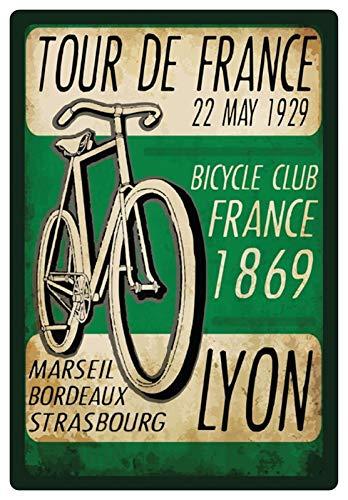 Blechschild 20x30cm gewölbt Tour De France 1929 Lyon Fahrrad Club Deko Geschenk Schild