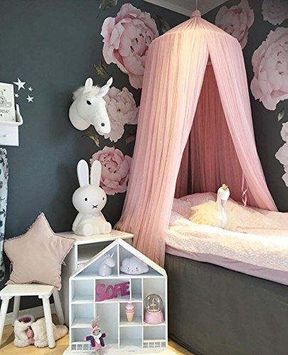Miavogo Baby Baldachin aus Garn, Betthimmel Kinder Hängend Mädchen Prinzessin Schlösschen Spielzelt Dekoration für Schlafzimmer Babybett, Gesamtlänge 240cm, Korall Rosa