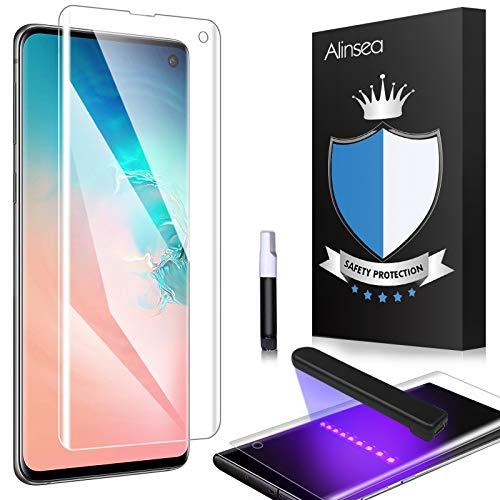 Alinsea Verre Trempé Galaxy S10 [1 Pièce], [Sans Bulle, Super Clair] [3D Couverture Maximale] [9H dureté] l'utilisation de colle et de lampe UV Protection écran pour Samsung Galaxy S10