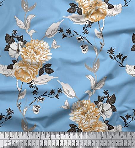 Soimoi Dekorative 58 Zoll breit mit Blumenmuster Viscose Rayon Nähen Stoff 115 GSM durch das Messgerät - Hellblau