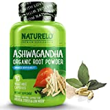 NATURELO Ashwagandha Organic Root Powder - Natural Herbs Supplement for Mental Stress Relief, Mood Enhancer, Thyroid Support - with Black Pepper Extract - 90 Vegan Capsules