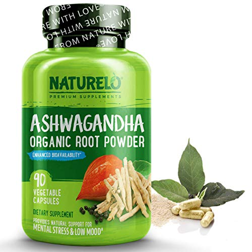 NATURELO Ashwagandha Organic Root Powder - Natural Herbs Supplement - Best for Mental Stress Relief, Mood Enhancer, Thyroid Support - with Black Pepper Extract - 90 Vegan Capsules