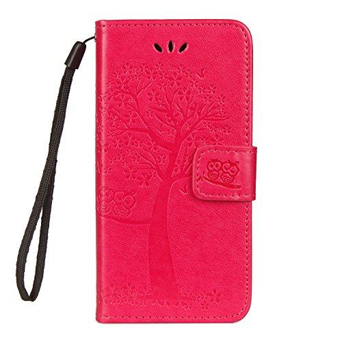 JAWSEU Kompatibel mit Sony Xperia XZ2 Compact Hülle Leder Flip Case Wallet Tasche Cover Hüllen Eule Baum Muster PU Handyhülle Brieftasche Etui Schutzhülle Handytasche Magnetisch Ständer,Rose rot