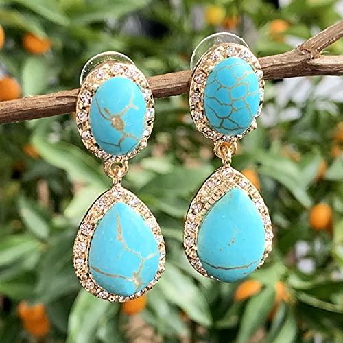 WJZB Pendiente de Gota de lágrima con Gema de Cristales de turquesas de Piedra Natural Bohemia para Mujer, joyería de Fiesta