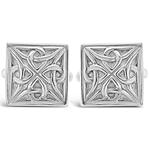 Sterling Silber Celtic quadratisch Manschettenknöpfe mit Geschenk-Box