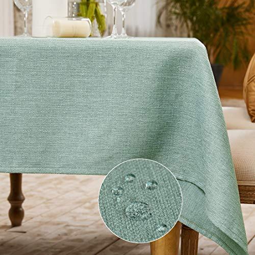 BALCONY & FALCON Mantel Rectangular Mantel Antimanchas para Cocina Mantel Impermeable para Mesa Cafetería (Verde Claro, 145*300cm)